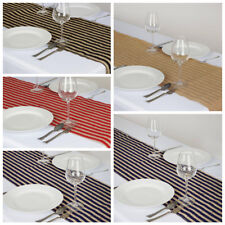 "14 x108"" BURLAP with Stripes TABLE TOP RUNNER Country Wedding Party Linens SALE"