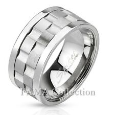 FAMA 10mm Stainless Steel Gear Shaped Matte Center Double Spinner Ring Size 9-13