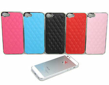 Luxury PU Leather Chrome Hard Snap-On Case Cover For iPhone 5 5G 5S Accessory