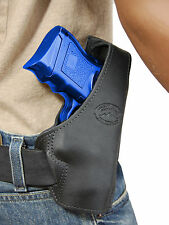New Barsony Black Leather Pancake Gun Holster for Glock Compact 9mm 40 45