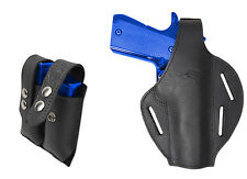 NEW Black Leather Pancake Holster + Dbl Mag Pouch Browning Colt Full Size 9mm 40