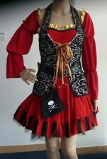 Adult Sexy Spanish Pirate Red Complete Costume Black Corset Size S-2XL