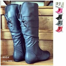 New Women Riding Knee High Boots Flat Heel Fashion Faux Leather Shoes Size 6-11
