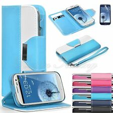 PU Leather Wallet Flip Case Stand Cover For Samsung Galaxy S3 SIII i9300 + Film