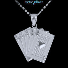 White Gold Royal Flush Pendant Necklace Hearts A K Q J 10 Poker Cards