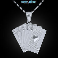Sterling Silver Royal Flush Pendant Necklace Hearts A K Q J 10 Poker Cards