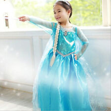 Girls Frozen Princess Anna Elsa Cosplay Costume Kid's Party Dress Dresses SZ3-8Y