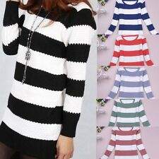Winter Women Warm Candy Color Striped Long Kintted Wear Pullover Jumper Sweater