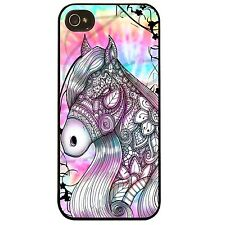 Cover for Iphone 4 4S Horse colourful tie dye henna flower pattern Phone case