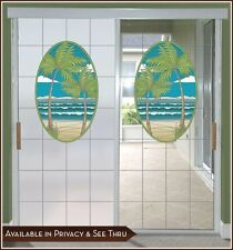 Tropical Island Palm Adhesive-Free Stained Glass Window Film Cling