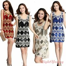 Sexy Women Party Dress Sequin Night Cocktail Dance Wear Costume Ethnic Sundress