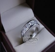 MEN'S NEW 14K WHITE GOLD FINISH STERLING SILVER PRINCESS CUT WEDDING BAND RING