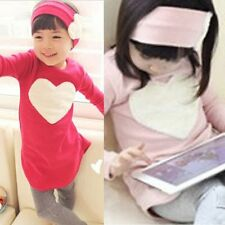 Baby Kids Girls Heart Long Sleeve Top Shirts Headband Leggings 3Pcs 2-7Y Outfits