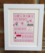 Personalised Christening/Baptism Framed Print, Boy and Girl, Perfect Gift