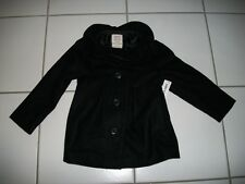 NWT OLD NAVY Girls 18 24 M5 5A Black Wool Dress Coat Jacket Tiered