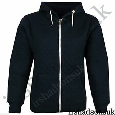 New Kids Girls & Boys Quilted Plain Hoodie Zip Up Style Hooded Jacket 2-13Year