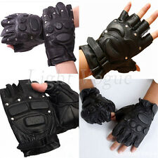 Outdoor Men's Leather rivet Driving Tactic Cycling Half Finger Gloves Sports 62