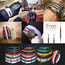 Universal 20mm Nylon Watch Band Military Army Stripes Replacement Strap Bracelet