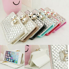 Rhinestone 3D Bling Bow Knot Leather Flip Wallet Case Cover for iPhone Sumsung