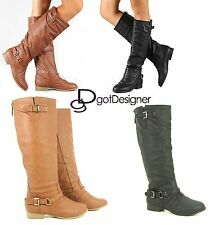 Women's Shoes Boots Knee High Riding Motorcycle Slouchy Flat Military Cowboy NEW