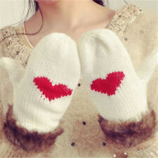 New Womens Lady Warm Winter Xmas Knit Lovely Peach Hearts All Round Gloves ST11