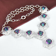 Holiday Jewelry Gift Rainbow Fire Mystical Topaz Gemstone Silver Chain Necklace