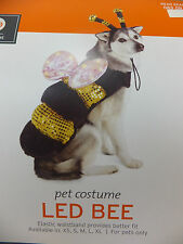 Bumble Bee Dog Pet Costume Medium Lighted LED Batteries Included Yellow Black
