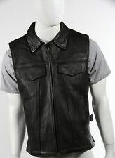 Mens Naked Leather Concealed Carry Biker Outlaw Club Vest  -  Zip Front & Collar