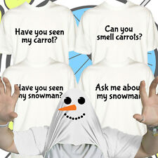 Christmas Snowman Tshirt Funny Ask Me About Work Party Mens Pull Over Up T Shirt