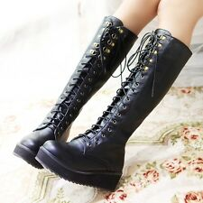 Womens Wedge Heel Platform Lace Up Biker Knee High Riding Boots Shoes Plus Size9