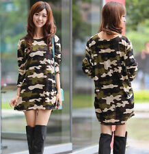 Free Plus Size Women Camo Army Camouflage Loose Tops T shirt base Shirt Blouse