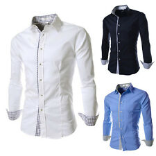 Men's Plaid Assorted Color Long Sleeve Shirts Tops Dress Casual Slim Fit Shirts