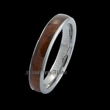 Koa Wood Tungsten Ring 4mm Hawaiian Band Comfort Fit Dome Edge
