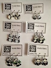 Silvertone Panda Bear Dangle Earrings- Free Shipping- 12 Various Styles-