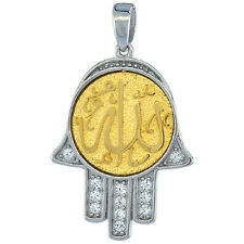 """Sterling Silver ALLAH Gold-plated CZ Islamic Pendant,Charm,18""""Box Chain#77P00105"""