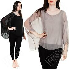 New Womens Ladies Italian Double Layer Long Batwing Sleeve Silk Top Plus Size