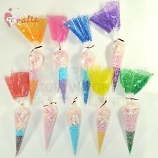 50 x Cello Cone Sweet Treat Display Favor Gift Party Bags | Clear | Colour