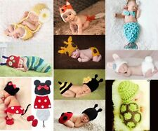 Newborn Baby Crochet Animal Hat / Diaper Cover / Shoes / Sleeping Bag Photo Prop