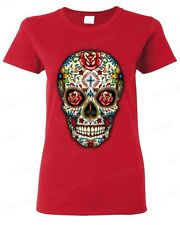 Sugar Skull roses eyes Day of the Dead WOMEN T-SHIRT Mexican Gothic tee
