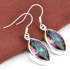 Holiday Jewelry Gift Rainbow Fire Mystical Topaz Gemstone Silver Lady Earrings