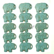 16'' Blue Howlite Turquoise Gemstone Side Ways Elephant Flat Loose Beads