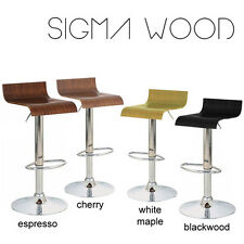 NEW! MODERN WOODEN BARSTOOL - HYDRAULIC ADJUSTABLE SWIVEL BAR STOOL - SIGMA WOOD