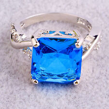 Noble Blue & White Sapphire Gemstone Silver Jewelry Unisex Ring Size 6 7 8 9 10
