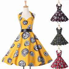 Charm Unique Housewife Rockabilly Swing Dress Retro Prom Gown Knee Length Skirts