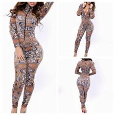Fashion Womens Zipper Retro Printed Stretch Bodycon Rompers Jumpsuits Clubwear