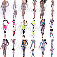Fashion Womens Colorful Graffiti Slim Bodycon Zipper Rompers Jumpsuits Clubwear
