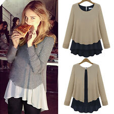 NEW Women Ladies Long Sleeve Chiffon Peplum Loose Casual Tee Tops T-Shirt Blouse