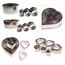 12 Round Cookies Biscuit Cake Fondant Decorating Circle Heart Frill Cutter Sugar