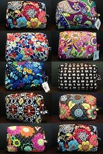 VERA BRADLEY LG COSMETIC BAG FLOWER SHOWER CLEMENTINE AFRICAN VIOLET JEWELRY