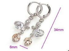 9ct White  Gold Filled  Drop Earrings with Multi-Gem Round Cubic Zirconia E90